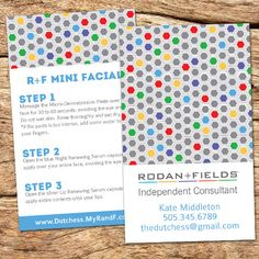 8c07278f8fb Great gift for Rodan and fields consultants! These mini facial instruction  cards will fit perfectly