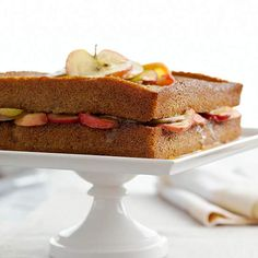 A buttery mixture of apples and sugar is sandwiched between two scrumptious layers of cinnamon-spiced cake./