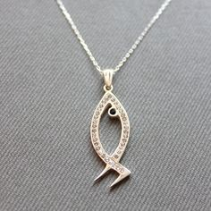 Sterling Silver Fish Necklace  Fish Charm by LibertaFashion, $21.50