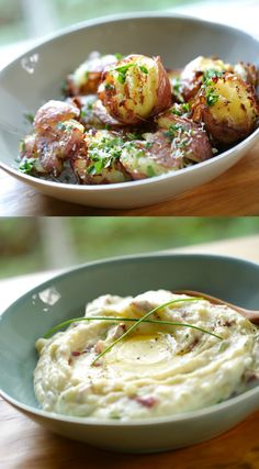 Two awesome potato side dishes everyone should know how to make!  Smashed potatoes with Garlic, Parsley and Parmesan and Sour Cream and Chive Mashed Potatoes. Includes video! #potatoes #potatorecipes #smashedpotatoes #mashedpotatoes #sidedishes