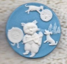 The Cat and The Fiddle Jasperware Button J558   eBay