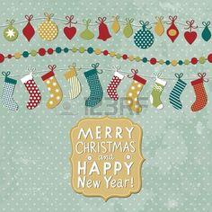 Noël et Nouvel An carte Banque d'images - 16424619