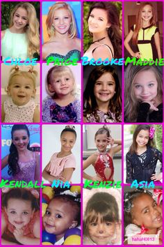 Dance Moms collage by hahaH0ll13. Look how they've all grown up! Chloe Lukasiak, Paige Hyland, Brooke Hyland, Maddie Ziegler, Kendall Vertes, Nia Frazier, Mackenzie Ziegler, and Asia Monet Ray. Feel free to ask for custom or special collages with lyrics or sayings!!!!!!!!!!!!