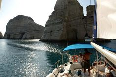 S/Y Gina L. going through Kleftiko rocks in a POLCO Sailing cruise.