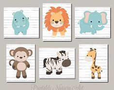 Printable Nursery Art Safari Nursery Decor Zoo Animal Nursery Prints Safari Animals Boy Nursery Decor Nursery Printables 6 Bright White