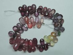 Pretty Natural Multi Sapphire Shaded Faceted Pear by StarGemBeads