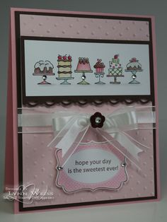 Birthday Bakery in Pretty in Pink, Pink Pirouette, Choc Chip w embossing folder, border, ribbon and rhinestones