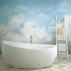 """""""You'll love the calm scene in this RoomMates In The Clouds P&S Wallpaper Mural! You'll love the calm scene in this RoomMates In The Clouds P&S Wallpaper Mural! Cloud scene wallpaper 7 panels: 18""""""""W x 72""""""""H Weight: 2 lbs. Vinyl Horizontal & vertical display Adhesive Wipe clean Made in the USA Size: One Size. Color: Multicolor. Gender: unisex. Age Group: adult."""" Bathroom Mural, Art Deco Bathroom, Bedroom Murals, Bedroom Ideas, Bold Wallpaper, Print Wallpaper, Peel And Stick Wallpaper, Removable Wall Murals, Cleaning Walls"""