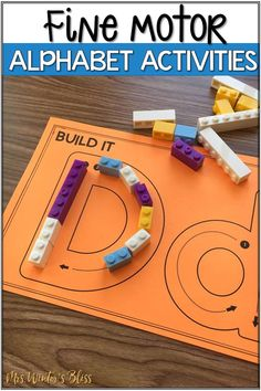 Fine motor alphabet activities are a fun learning center for preschool and kindergarten kids. Kindergarten Centers, Preschool Learning Centers, Preschool Alphabet, Alphabet Games, Kindergarten Letter Activities, Preschool Phonics, Preschool Rooms, Alphabet Crafts, Abc Activities