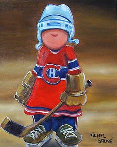 Tole Painting, Figure Painting, Painting For Kids, Art For Kids, Hockey Drawing, Hockey Decor, Happy Paintings, Wood Canvas, Folk Art