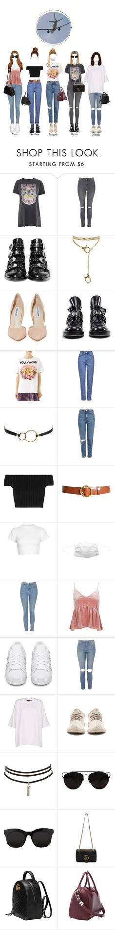 """""""SOLAR @Gimpo Airport OTW to OSAKA"""" by solarofficial ❤ liked on Polyvore featuring Topshop, Givenchy, Steve Madden, Balenciaga, Gucci, Kenneth Jay Lane, Michael Kors, Frame, Motel and adidas Originals"""