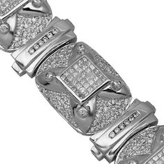 14K White Gold Mens Diamond Bracelet 13.58 Ctw | Your #1 Source for Jewelry and Accessories