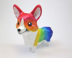 Check out this item in my Etsy shop https://www.etsy.com/listing/486852030/rainbow-corgi-figurine-animal-sculpture