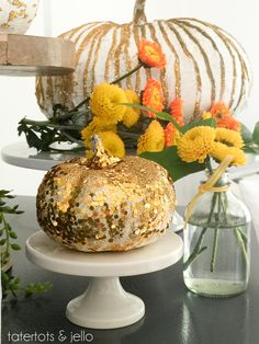 Gold Glitter & Grout Pumpkins! So easy to make, but so gorgeous for Fall decor!