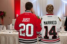 Just Married Chicago Blackhawk Jerseys for the Reception  Sassy Chicago Weddings | The official blog of Wedding Guide Chicago!