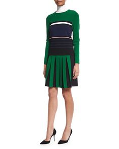 -616F Cedric Charlier Long-Sleeve Striped Knit Sweater, Turtleneck Knit Dickey & Contrast Front-Pleated A-Line Skirt