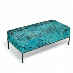 Antique textiles and vintage rugs from Istanbul are stitched together for this collection - Sent Sofia Blue/Green Pouf