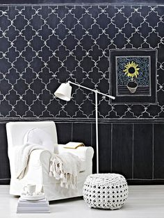 """Chalkboard wall treatment. This is a GREAT idea! You can change it whenever you want. Good tip: scribble chalk over the surface and erase before making final design. Prevents """"ghosts"""" if you change design and creates uniform surface."""
