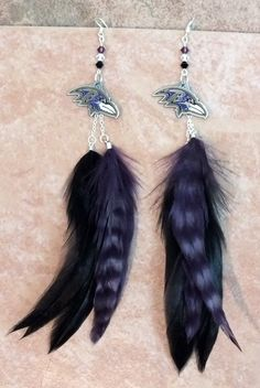 Baltimore Ravens NFL Football Swarovski Crystals and  Feather Earrings