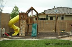 Swing Sets and How to prevent weeds in the long run., Outdoor Swing Sets and How to prevent weeds in the long run., Outdoor Swing Sets and How to prevent weeds in the long run. Cedar Swing Sets, Outdoor Swing Sets, Backyard Swing Sets, Large Backyard Landscaping, Backyard Playground, Outdoor Fun, Backyard Patio, Playground Ideas, Outdoor Ideas