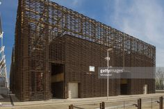 'Coffee - The Engine of Ideas, 2015, 21st Century. Italy, Lombardy, Milan, Expo 2015. Full view, exterior. A pavilion built for Expo Milano 2015, ''Feeding the Planet, Energy for Life''. The Coffee Cluster is a thematic pavilion. The structure of its buildings evokes the tree trunks in the forests where coffee plants grow. (Photo by Marta Carenzi/Electa/Mondadori Portfolio via Getty Images)'