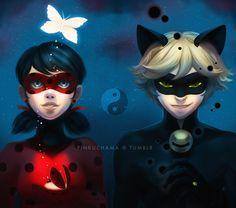 Ladybug and Chat Noir - / all credit to the artist; Ladybug Comics, Miraclous Ladybug, Complicated Love, Cartoon Ships, Miraculous Ladybug Fan Art, Cat Noir, Kawaii, Paris, Magical Girl