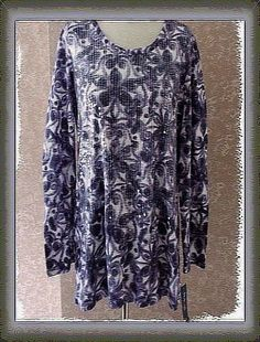 Womens XL Top Tunic Length Style + Co Water Lilies Beaded Purple Extra Large New #StyleCo #Tunic #EveningOccasion