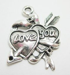 2 Love You Hearts with Arrows 4196 by OverstockBeadSupply on Etsy, $1.40