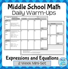 Math Daily Warm Ups - FREE - Expressions and Equations