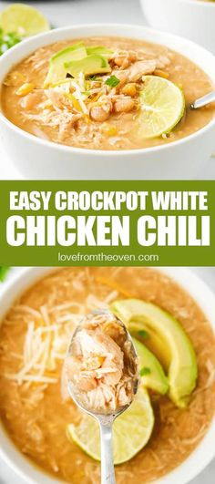 Easy Crockpot White Chicken Chili • Love From The Oven
