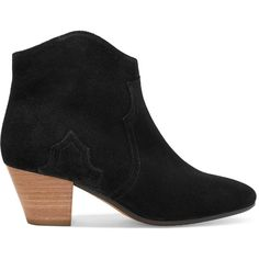 Isabel Marant Étoile Dicker suede ankle boots (€410) ❤ liked on Polyvore featuring shoes, boots, ankle booties, black ankle booties, short boots, suede booties, black suede boots and suede ankle bootie