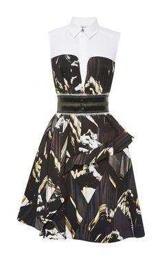 Belt this dress for a dynamic look --Ruffled Trompe L'Oeil Printed Dress by Kenzo - Moda Operandi