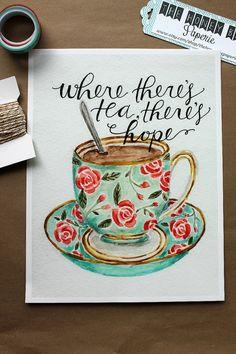 Tea Art Print/ Kitchen Art/ Tea Cup Hope by TheHoneyBeePaperie, $17.00