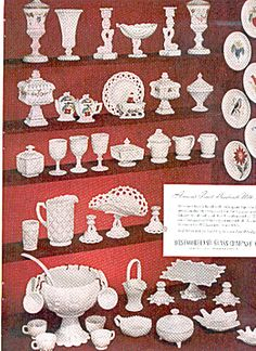 This is an original Westmoreland glass company MILK GLASS ad that features many of the wonderful patterns, designs and more. Antique Glassware, Antique Lamps, Westmoreland Glass, Indiana Glass, Fenton Glass, Glass Company, Glass Dishes, Vintage Pottery, Carnival Glass