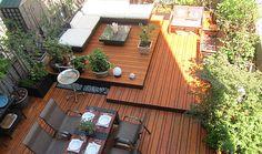 A Modern Williamsburg Backyard Roof Garden. I want a roof garden Outdoor Rooms, Outdoor Gardens, Outdoor Living, Roof Gardens, Rooftop Garden, Rooftop Terrace, Modern Landscaping, Garden Landscaping, Pergola Garden