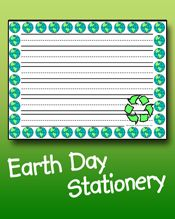 Use this Earth Day stationery to make a list of things you can do to make Earth a better place to live. We have two styles: one for younger writers and one for older writers. Our stationery is free to print and makes a great addition to any classroom writing project.