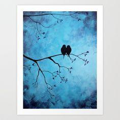 Love Birds Art Print by Lynsie Petig - $24.96 (#art #painting #love #birds #tree #branches #petals #blue #purple #black #abstract)