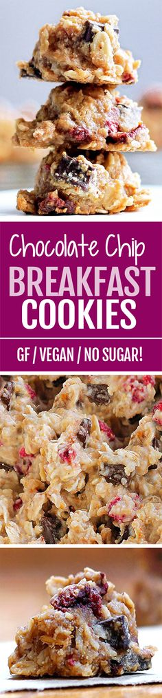 Chocolate Chip Breakfast Cookies, with NO sugar, no oil required, and they're healthy and vegan