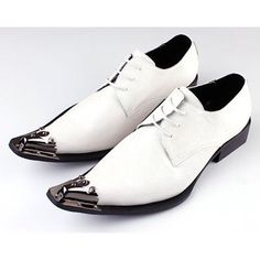Ivory White Leather Pointy Lace Up Fashion Wedding Prom Dress Shoes Men SKU-1100333