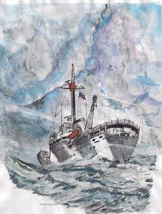 """Buque """"Piloto Pardo"""" Chile...Siempre que navegábamos retornando hacia el continente, a 100 millas náuticas de Cabo de Hornos en el archipiélago de Wollaston, el mar era muy agitado, marejada con olas enormes; 30 o más nudos de viento fuerte, rara vez no fue así....by Guillermo Gaete"""