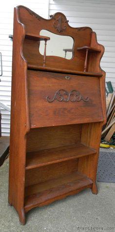 Victorian Solid Oak Bookcase Slant Front Desk Larkin