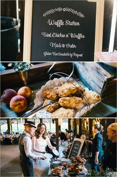 Chicken and waffles station at wedding comfyshopping pinterest blush and peach rustic romance wedding solutioingenieria Image collections