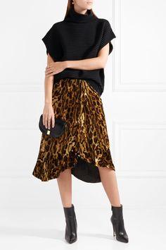 ISABEL MARANT Tursanne asymmetric leopard-print velvet skirt