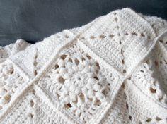 Handmade cream white granny square blanket, vintage afghan, throw, or single size bedspread. Beautiful solid color yarn, crochet blocks.