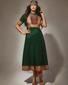Harleen Kaur's media content and analytics Afghan Clothes, Afghan Dresses, Indian Dresses, Indian Outfits, Pakistani Dresses, Afghan Wedding Dress, Casual Dresses, Girls Dresses, Look 2018
