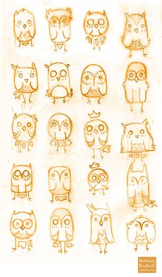 Different ways to draw owls