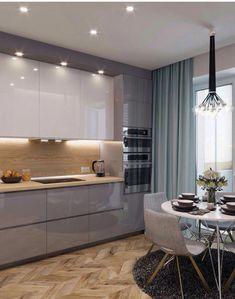 cozinha em laca alto brilho; cozinha cinza e branca; piso em escama de peixe; #kitchenfurnitures