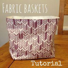 Fabric basket tutorial. Add handles stiff interfacing for dirty laundry baskets