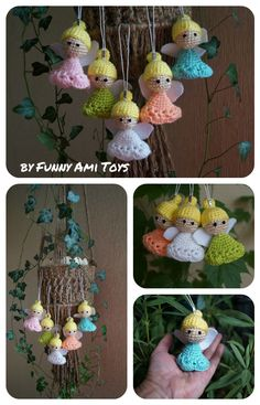 #Christmas #Ornaments #set Crochet #angels #Fairy toys Christmas decorations Gift for coworkers baby room decor baby shower gift Waldorf toy  There are adorable crochet angels. They are crocheted from acrylic yarn and filled with fyberfill. You can hang it on the Christmas tree or decorate your rooms.
