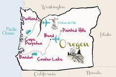 A wonderful trip through Oregon planned by Amanda from the blog Kevin and Amanda ~ Travel Oregon Map from kevinandamanda.com